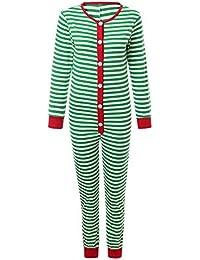 FRAUIT Familiares Ropa de Dormir Traje a Juego de Navidad Mujer Hombre Bebé Niño Niña de Pijamas A Juego con la Familia Pijamas de Rayas a Cuadros Verdes Hombres Ropa de Dormir Ropa de Dormir