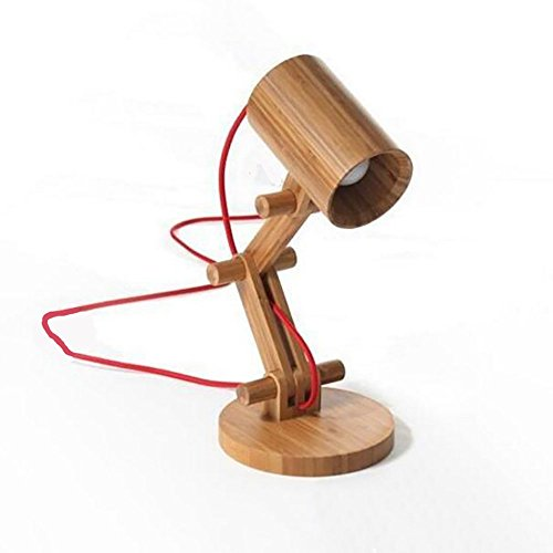 Lampe de bureau solide bois bouton décoratif LED mode simple tissu chambre chevet bureau salon art cadeau