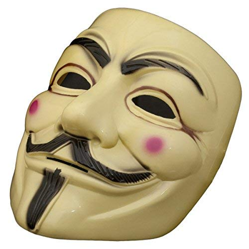 V wie for Vendetta Mask - Guy Fawkes Mask - Beige Halloween Karneval Anonymous