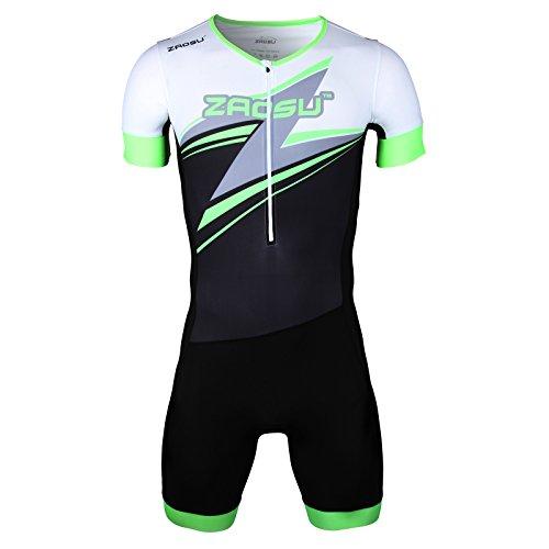 ZAOSU Herren Aerosuit - Trisuit Einteiler | Triathlonanzug mit langem Arm, hoher Kompression und Einem komfortablen Radpolster für Lange Distanzen, Größe:M
