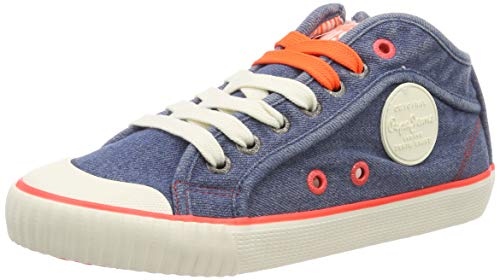 Pepe Jeans London Damen Industry NEON Sneaker, Blau (000denim 000), 38 EU