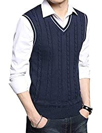 Yonglan Hombre Jacquard Chaleco De Punto Sin Mangas Cuello En V Suéter Chalecos Azul Zafiro XXL