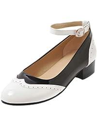 dd6dc5d7289 Coolulu Mujer Zapatos de Tacón Medio y Ancho Comodo Charol Tira al Tobillo  con Hebillas Calzado