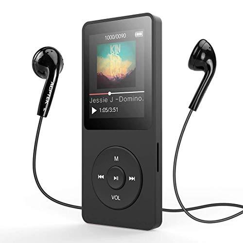 MP3 Player, AGPTEK 8GB Bluetooth 4.0 MP3 Player mit Kopfhörern, 1.8 Zoll 70 Stunden Wiedergabezeit Digital Kinder MP3 Player FM Radio, bis 128G SD Karte, (Verpackung MEHRWEG), Schwarz
