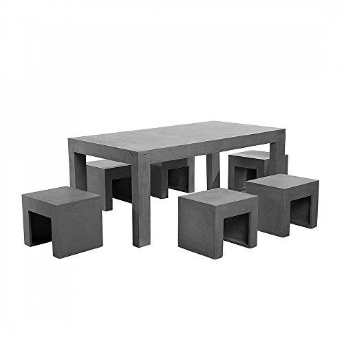 Gartenmöbel aus Beton - Tisch mit sechs Stühlen - Betonmöbel - TARANTO