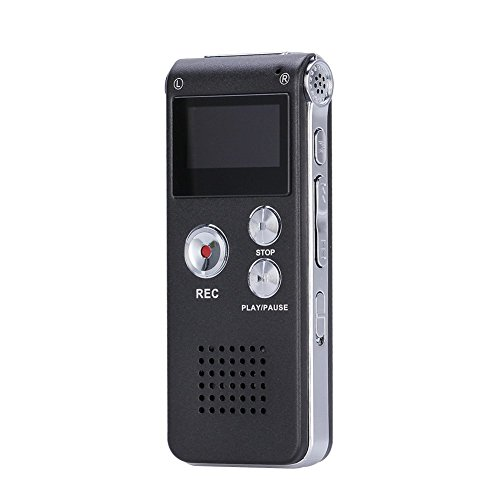GHB 8GB Registratore Vocale Portabile, MP3 Player Stereo Digital Voice Recorder Dittafono con display LCD USB - Nero