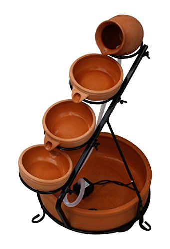 HOME HUT® Solar Cascade Water Feature in Terracotta/Blue with LED Light and Battery Garden (Terracotta) 1