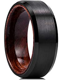 f413b57d8835 King Will Nature Mens 8mm Black Tungsten Carbide Wedding Ring Inlay with  Real Wood Comfort Fit Brushed…