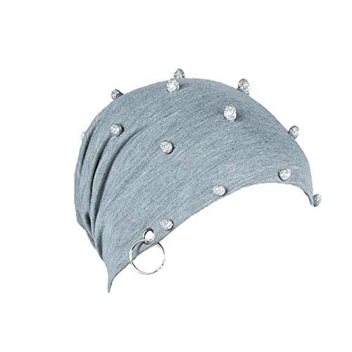 Logo-jersey-eisen (Fcostume Sonnenhut, Frauen Soild Indien Strass Eisen Turban Hut stricken Haarausfall Kopftuch Wrap)