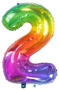 Folat Globo de lámina Yummy Gummy Rainbow Número 2-86 cm, multicolor (63242)