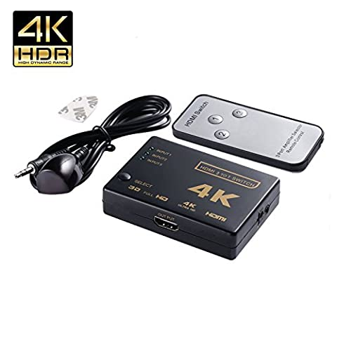 HDMI Switch 4K * 2K, YCTC 3 Port HDMI Switcher Splitter 3x1, 3D-Unterstützung, HDMI V1.4Für 4K TV/Apple TV/Chromecast Stick/Fire TV/HD-DVD/SKY-STB Xbox 360/PS4/ROKU (3-In (Einfache Ir Hub)