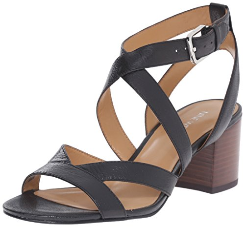 Nove in pelle occidentale Greentea tacco del sandalo Black