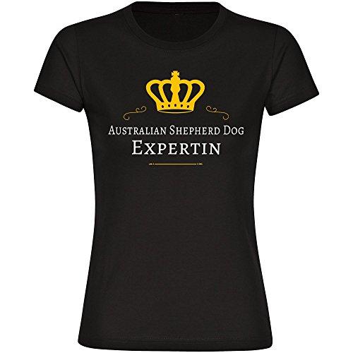 T-Shirt Australian Shepherd Dog Expertin schwarz Damen Gr. S bis 2XL, Größe:XL (Dog Australian Shepherd T-shirt)