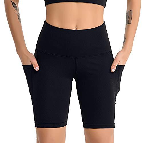 MKLVWU Sexy Shorts 2022 Frühling und Sommer Yoga Kleidung weibliche Yoga Fünf-Hosen Sport Fitness Seite Handytasche Fitness Shorts weiblich Schwarz L Cropped Athletic Hosen