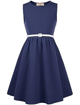 Grace Karin® Vestido Elegante de Niñas de Verano sin Mangas para Fiesta Cóctel con Cinturón 6-12 Años