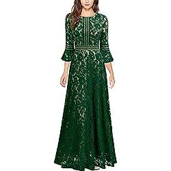 Vintage Encaje Slim Cóctel Vestido Largo para Mujer Verde Large