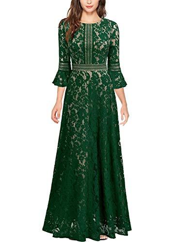 Miusol Vintage Encaje Slim Cóctel Vestido Largo para Mujer Verde Large