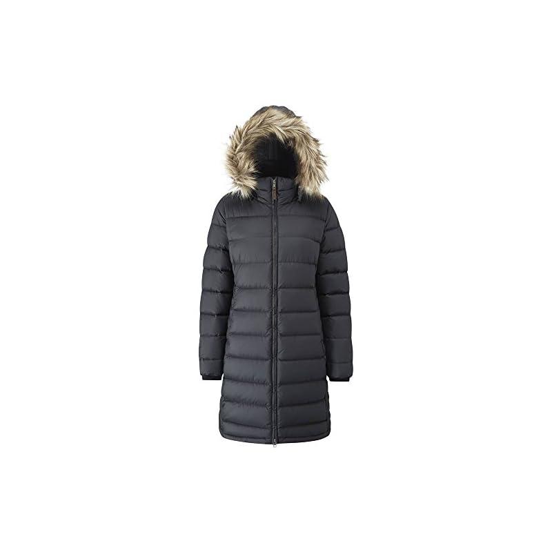Rab Women's Deep Cover Parka Duck Down Everyday Warm Slim Fit Jacket Faux-Fur Trim