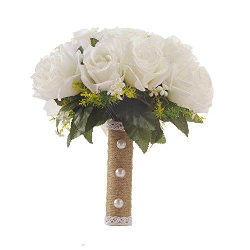 Simulation Flower Flanellrosen Rosennie Kristall Rosen Brautjungfer Hochzeit Bouquet Bridal Künstliche Seidenblumen Gefälschte Rosen Flanell Blumen Brautstrauß Hochzeit Künstliche Blume (Weiß)
