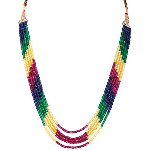 Be You Multi zircone color 5 righe rotondo collana di figura sfaccettato perline (Commercio All'ingrosso 5 Stringhe)