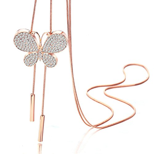Epinki Damen Halskette, Edelsathl Damenkette Schmetterling Form Anhänger Statementkette Glücksbringer-Glück Kettenanhänger 100 CM Rose Gold mit Zirkonia