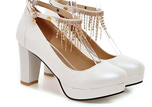 YCMDM FEMME Nouveaux talons hauts avec des chaussures épaisses White