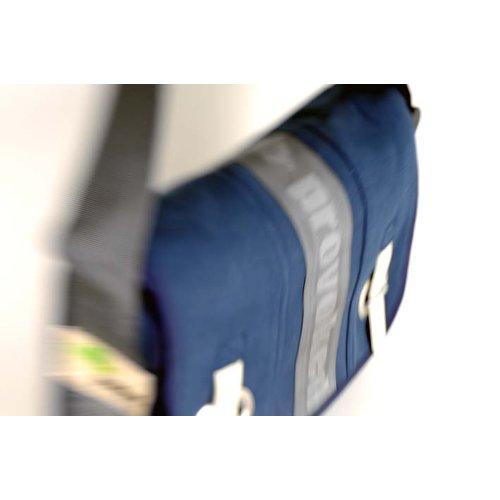 HAB & GUT (E3026A-O) Big bag-PROVOKED, messenger di canvas con chiusura con cinghia e occhiello verde oliva 35 x 30 cm blu / con logo