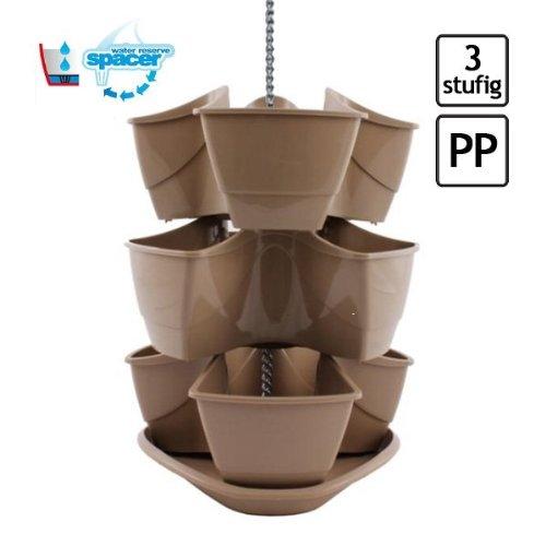 Dreistöckige Blumenampel oder Pflanzpyramide mit Bewässerungssystem zum Aufstellen (ohne Kette), Farbe: Beige