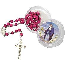 d36592f4b31 Bendición católica rosario collar rojo aroma de rosa cuentas de madera Cruz  de Jerusalén Crucifijo en