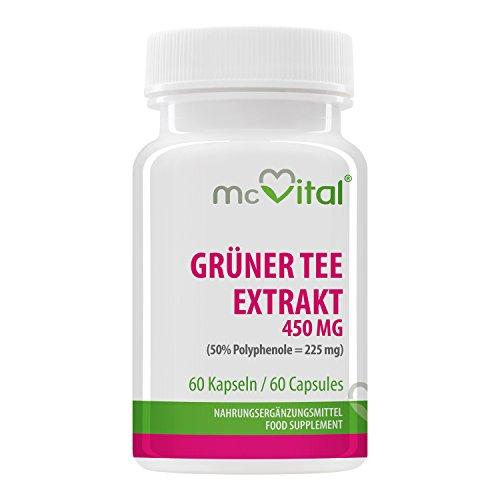 Grüner Tee Extrakt 450 mg - (50% Polyphenole = 225 mg) - mehr Energie - Ferrverbrennung - Konzentrationsfähigkeit - 60 Kapseln