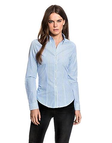 EMBRÆR Women's Blouse Modern Fit Long Sleeve Shirt Striped,white/lightblue,12
