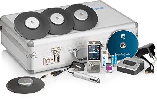 Philips DPM8900 Meeting-Recorder-Set, Digitales Diktiergerät inkl. 4 Grenzflächenmikrofonen zur Aufzeichnung von Konferenzen, Besprechungen etc., Aufnahmegerät für 360° Tonaufzeichnungen