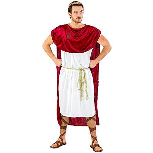 Kostüm Halloween Caesar - dressforfun Herrenkostüm Trojaner Achilles | Langes Gewand in antikem Design | Angenähter, mächtiger Umhang | inkl. Goldener Bindegürtel & Lorbeerkranz (L/XL | Nr. 300408)