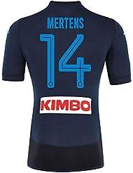 Napoli 3rd auténtico Match Mertens Jersey 2017/2018(diseño de abanico printing), Azul marino
