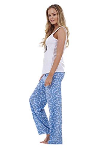 ex faMouS store - Ensemble pyjama 3pièces pour femme avec veste de nuit à capuche et débardeur motif floral bleu