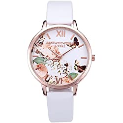JSDDE Fashion Women Girls Watches White Dial Butterfly Rose Gold Case With PU Leather Strap - White