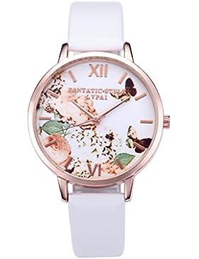 JSDDE Uhren,Vintage Schmetterling Blumen Damen Armbanduhr Basel-Stil Quarzuhr Lederarmband Rosegold Quarz Uhr,...