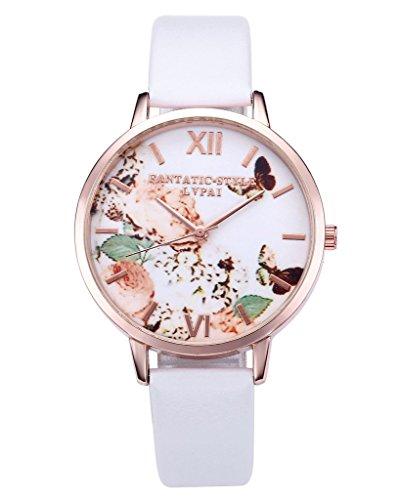 JSDDE Uhren,Vintage Schmetterling Blumen Damen Armbanduhr Basel-Stil Quarzuhr Lederarmband Rosegold Quarz Uhr,Weiss