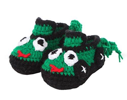 Smile YKK 1 Paar One Size 11cm Baby Unisex süße Strick Strickschuh klein Schuh ohne Deko Grün Dunkelgrün