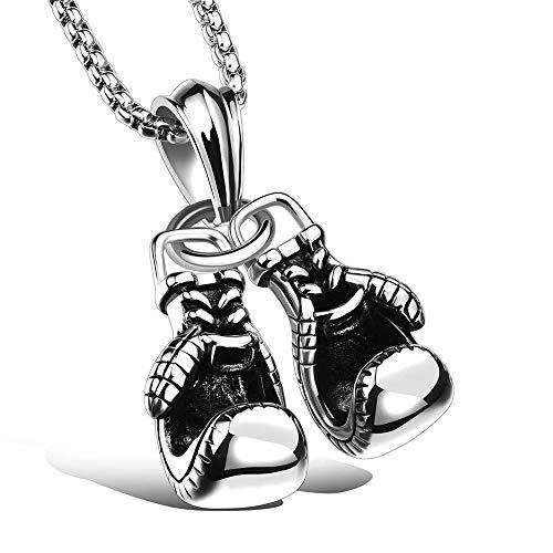 Honneury Doppelhandschuh Titan Stahl Anhänger Halskette Persönlichkeit Männer Boxhandschuhe Fitness Sport Zubehör (Farbe : Silver)