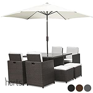 Harts Premium Rattan Dining Set, Cube 8 Seats Garden Patio Conservatory Furniture inc Rain Cover & Parasol (Brown)