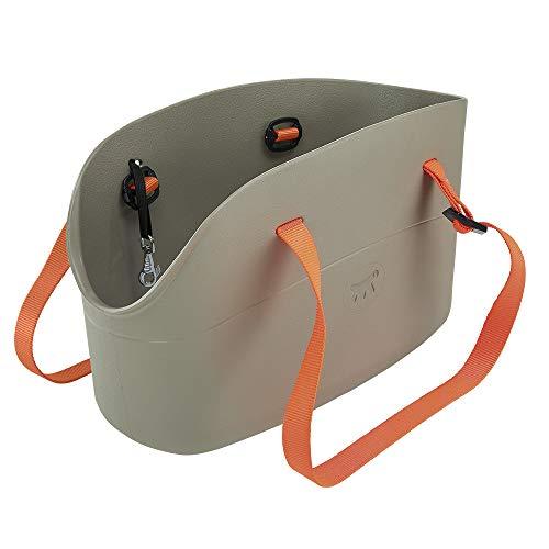 Ferplast 79505012 Hundetragetasche With-Me aus innovatiem Gummi, Maße: 43,5 x 21,5 x 27 cm, grau (Vinyl-hundebox)