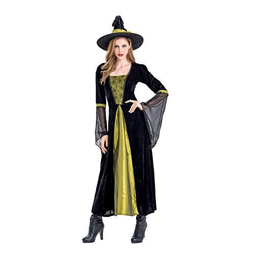 Hymzp costume carnevale, vestito sexy da cosplay della strega per adulti di halloween con cappello, vestito da palcoscenico per feste di carnevale,xl