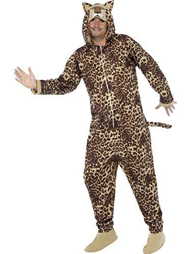 Luxuspiraten - Herren Männer Damen Kostüm Plüsch Leoparden Fell Einteiler Onesie Overall Jumpsuit, perfekt für Karneval, Fasching und Fastnacht, L, Braun (Leopard Jumpsuit Kostüm)