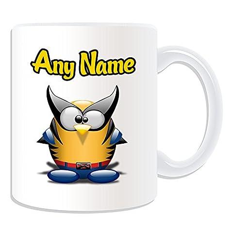 Cadeau personnalisé–Tasse Wolverine (Pingouin Film Character Design Thème, blanc)–N'importe Quel Nom/Message sur votre Costume unique–Movie Superhero Héros Marvel Comics Avengers X-Men Logan James