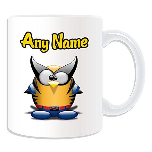Personalisiertes Geschenk–Wolverine Tasse (Pinguin Film Charakter Design Thema, weiß)–Jeder Name/Nachricht auf Ihre Einzigartiges–Kostüm Film Superheld Hero Marvel Comics Avengers X-Men Logan James (Howlett Kostüm)