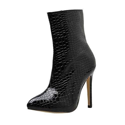 friendGG Stiefel Damen Mit Absatz Leder High Heels Stiefel Warm Gefüttert Blockabsatz Winterschuhe Mode Elegante Kurzschaft Boots(schwarz,38 EU) (Bronze Leder-heels)