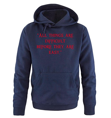 Comedy Shirts - ALL THINKS ARE DIFFICULT - Uomo Hoodie cappuccio sweater - taglia S-XXL different colors blu navy / rosso