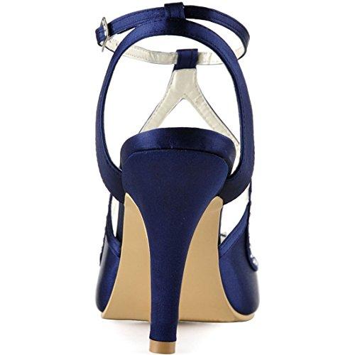 Minitoo MinitooUK-MZ8229, Sandales Pour Femme Navy Blue-7.5cm Heel