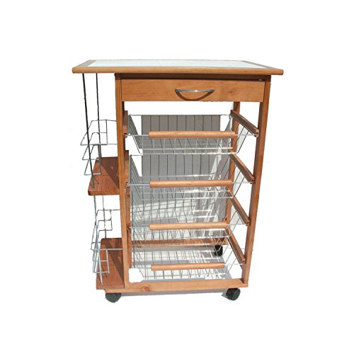carrello da cucina portabottiglie in legno naturale 4 cassetti portafrutta 37 x 57 x 83h